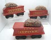 8 Vintage Mccormick Whiskey Red Train Car Decanters Set Of 3