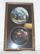 Lot Of 2 Ted Xaras 8 Canadian Pacific Train Plates In Wood Wall Hanging Case