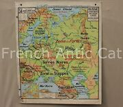 R061 Famous French Antique School Map Rusia Baltic States Industrial 4739