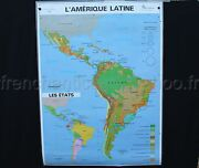 Original Antique French School Map South America Physic Politic Moutain 3649