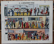 B218 French Antique Poster School Learn English Store +