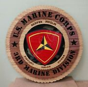 Us Marine Corps 3rd Marine Division Laser Cut 3d Wood Wall Tribute Plaque 11andfrac14