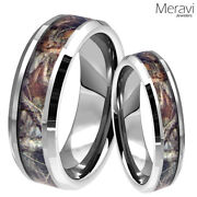 Tungsten Brown Oak Real Forest Camo Ring 8mm Mens Womens Mossy Tree Wedding Band