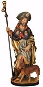 Statua San Rocco Con Cane Legno - Woodcarving St. Rock With Dog