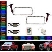 08-10 Ford F-250 Multi-color Changing Led Rgb Halo Upper Headlight Rings Pair Ir