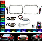 08-10 Ford F-250 Multi-color Changing Led Lower Headlight Halo Rings Bluetooth