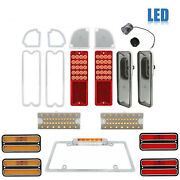 69-70 Chevy Gmc Truck Led Sequential Tail Park License Amber Light Lenses Set