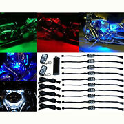 10pc Rgb/red/green/blue/yellow Glow Lights Led Pods Kit Fits Harley Motorcycle