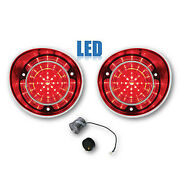 71 Chevy Chevelle Ss And Malibu Red Led Lh Rh Tail Brake Light Lens And Flasher Pair