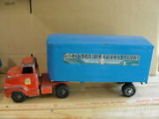 Vintage Pressed Steel Buckeye Tractor And Trailer Red Star Rare