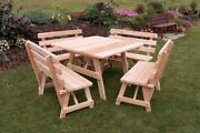 Aandl Furniture Co. 43 Amish-made Square Cedar Picnic Table With Backed Benches