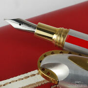 Ducati Writing Machines Silver W/ Red Stripe Ballpoint And Fountain Pen Set