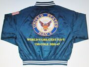 Uss Cole Ddg-67 Navy Anchor Embroidered 2-sided Satin Jacket