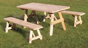 Aandl Furniture Co. Amish-made Cedar Traditional Picnic Tables With Benches