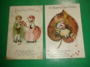 Jb333 Lot Of 2 Antique Postcards Signed Clapsaddle New Year Valentine's Day