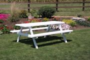 Aandl Furniture Co. Amish-made Pine Picnic Tables With Attached Benches - 4 Sizes