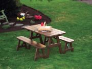 Aandl Furniture Co. Amish-made Pine Traditional Picnic Table And Bench Set - 4 Sizes