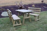 Aandl Furniture Co. Amish-made Pine Picnic Tables With Backed Benches - 4 Sizes
