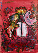 Marc Chagall Original 1962 Lithograph Lion Bird And Tablets Free Framing/shipping