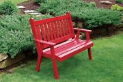 Aandl Furniture Co. Amish-made Pine Traditional English Garden Benches In 3 Sizes