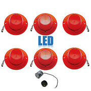 62 Chevy Impala Rear Led Tail And Back Up Light Lamp Lenses W/ Flasher Set Of 6