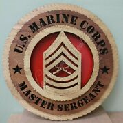 Us Marine Corps Master Sergeant Laser Cut 3d Wood Wall Tribute Plaque 11andfrac14