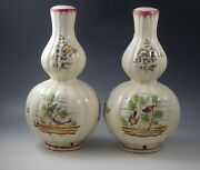 Perugia Italy Birds Hand Painted Pair -2 Lamps-lamp Bases- Double Gourd Shape