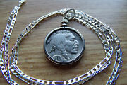 1937 Nicer Finer Buffalo Nickel Pendant On A 18 925 Italy Sterling Silver Chain
