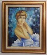 1960s-70s Portrait Of A Pixie In Tutu - Orig Oil On Canvas Signed 16x20