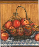 Country Red Apples Apple Basket Counter Top Shelf Wood Panel Wall Paper Border