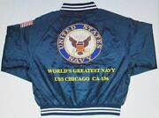 Uss Chicago Ca-136 Navy Anchor Embroidered 2-sided Satin Jacket