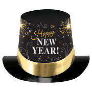 Happy New Year Black, Silver And Gold Printed Foil Top Hats X 6