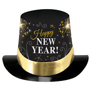 Happy New Year Black Silver And Gold Printed Foil Top Hats X 6