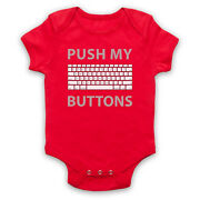Push My Buttons Computer Geek Keyboard Funny Slogan Baby Grow Shower Gift