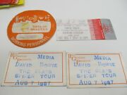 1987 David Bowie Glass Spider Tour Working Personnel + 2 Media Passes + Ticket
