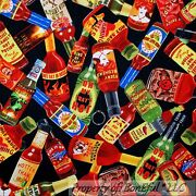 Boneful Fabric Fq Cotton Quilt Black Red Cook Pepper Hot Sauce Food Texas State