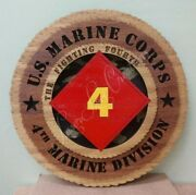 Us Marine Corps 4th Marine Division Laser Cut 3d Wood Wall Tribute Plaque 11andfrac14