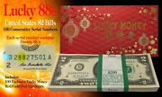 Cny Lucky Money 2 Bills Bep Pack Of 100 Consecutive - All Double 88 Serial Andrsquos