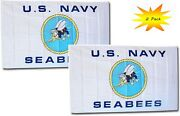 3x5 3andrsquox5andrsquo Wholesale Set 2 Pack Usn U.s. Navy Seabees White Flag Banner