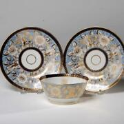Antique English Porcelain Group Of Plates 2 And Bowl W/ Christie's Labels