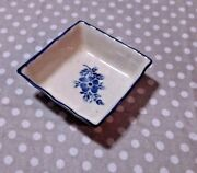 "Vintage Slovakia Dish 4"" White & Blue Signed Excellent Condition Black Burn Mark"