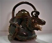 Art Pottery Dragon Tea Pot Amazing Glazes Details Quality One of a Kind
