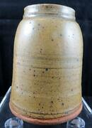 """STUDIO ART POTTERY SIGNED WHEEL THROWN TAN STONE WARE 6"""" CONICAL VASE"""