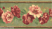 Red Roses Floral Flower Sage Green Vinyl Wall Paper Border S.a. Maxwell 7026-005