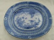 Vtg antique small blue asian platter with dragon catfish