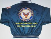 Uss Wrangell Ae-12 Navy Anchor Embroidered 2-sided Satin Jacket