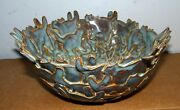 "Unique Fox Pottery Art Pottery Layered Cat Decor 9"" Bowl w/ Layered Slabs"