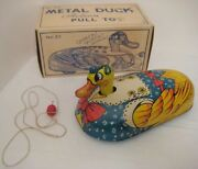 Old Unusual Large Metal Duck Pull Toy In Box By T Cohn - It Quacks - 9 Long Wow