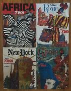 Twa Travel Poster Collage David Klein 1960's Pin-up Africa Rome New York Spain