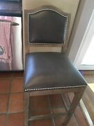 4 Ethan Allen Hayden Counter Stools Gray Wood Leather Silver Nailheads